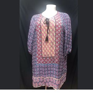 Tplani silk patterned tunic dress size 2X